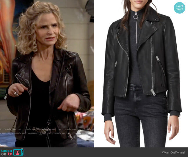 All Saints Leather Dalby Jacket worn by Jean Raines (Kyra Sedgwick) on Call Your Mother