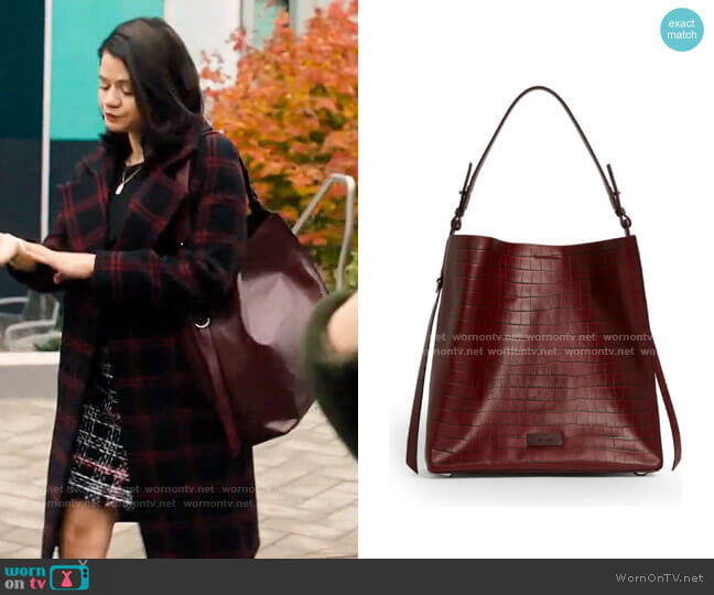 All Saints Polly Croc Embossed Leather North/South Tote worn by Mel Vera (Melonie Diaz) on Charmed