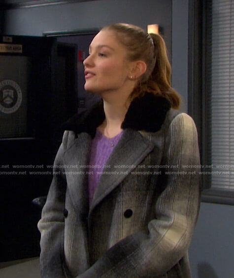 Allie's plaid coat with black fur collar  on Days of our Lives