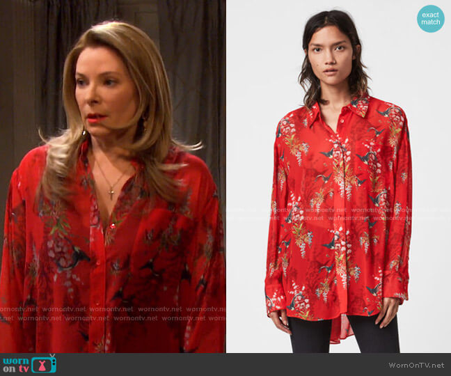 Bernie Melisma Shirt by All Saints worn by Jennifer Horton (Cady McClain) on Days of our Lives