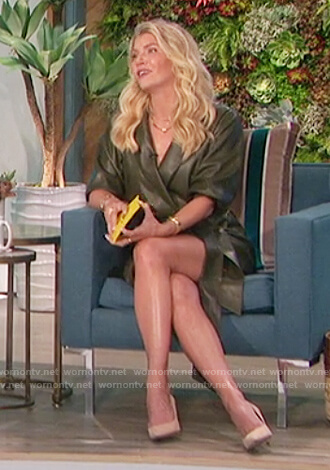 Amanda's green leather wrap dress on The Talk