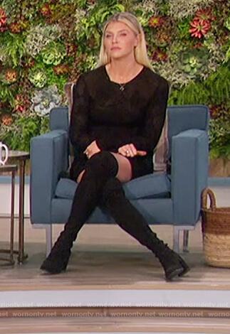 Amanda's black mesh mini dress on The Talk