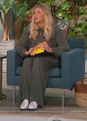 Amanda's gray ruffle tie neck blouse and pants on The Talk