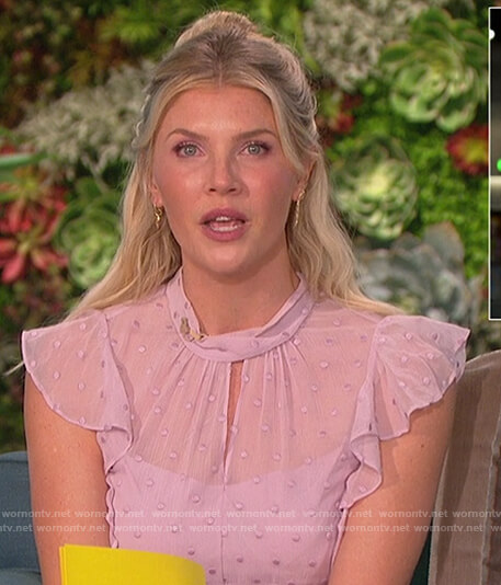 Amanda's lavenda polka dot sheer dress on The Talk