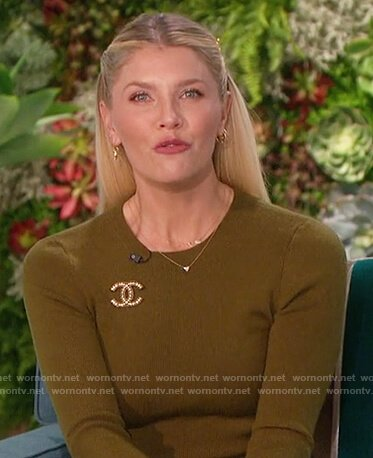 Amanda's olive sweater and pants on The Talk