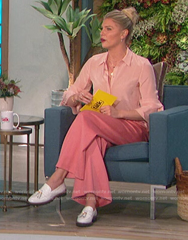 Amanda's pink tie cuff blouse and pants on The Talk