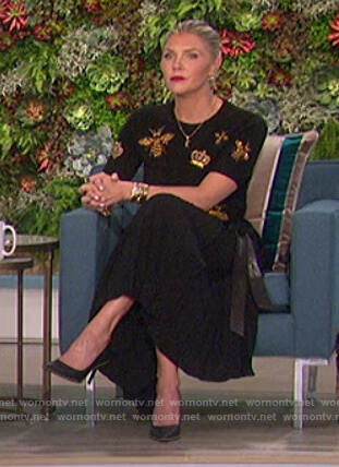 Amanda's bee embroidered sweater and skirt on The Talk