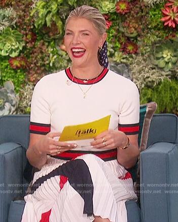 Amanda's white contrast stripe dress on The Talk