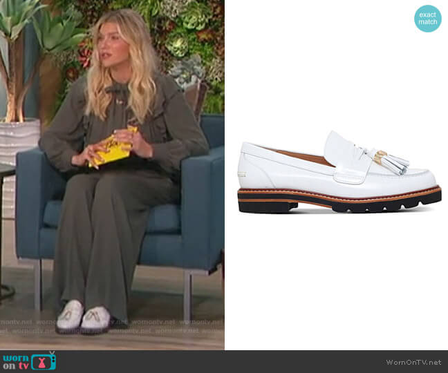White Loafers by Stuart Weitzman worn by Amanda Kloots  on The Talk