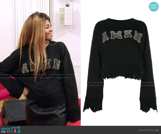 Cropped Logo Jumper by Amen worn by Mary Cosby  on The Real Housewives of Salt Lake City