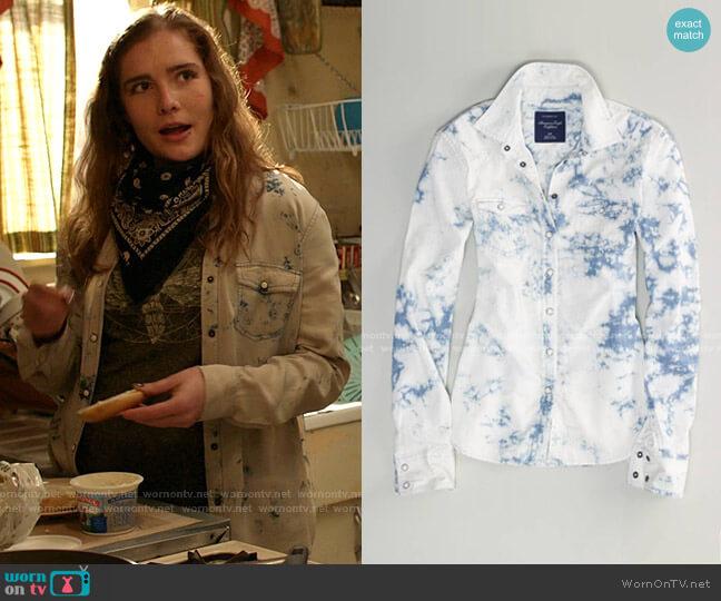 Tie-Dye Chambray Western Shirt by American Eagle worn by Sandy Milkovich (Elise Eberle) on Shameless