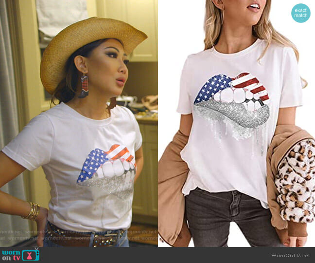 American Flag Lips Print Tee at Amazon worn by Tiffany Moon  on The Real Housewives of Dallas