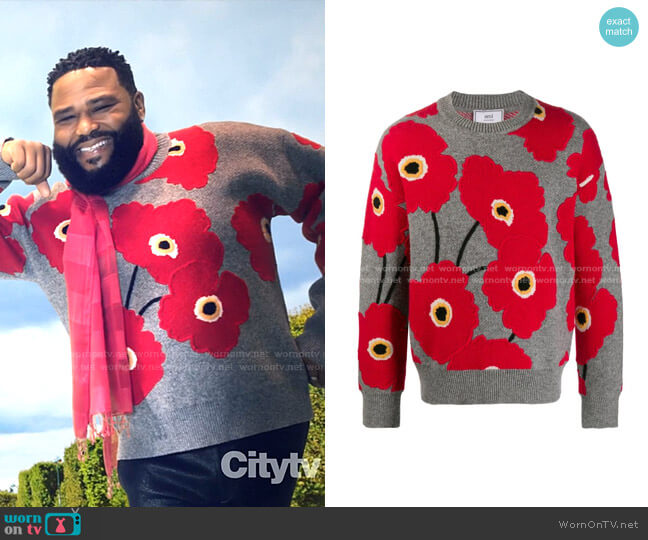 Applied Felt Poppies Jumper by AMI Paris worn by Andre Johnson (Anthony Anderson) on Blackish