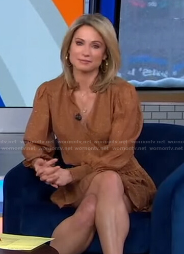 Amy's brown metallic mini dress on Good Morning America