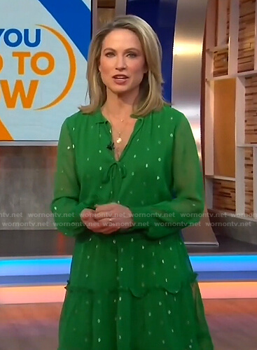 Amy's green tie neck ruffle dress on Good Morning America