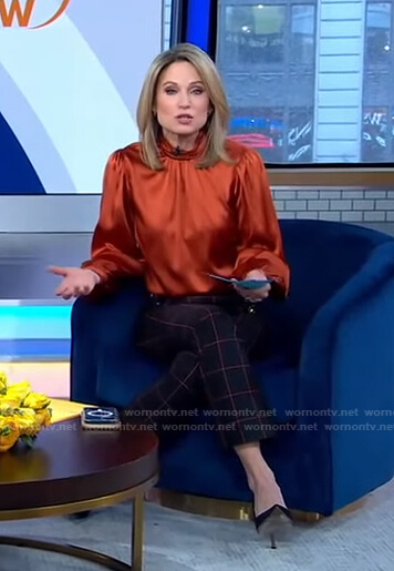 Amy's orange top and cropped check pants on Good Morning America