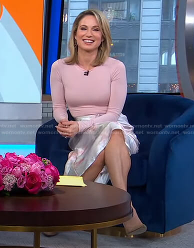 Amy's pink top and printed skirt on Good Morning America