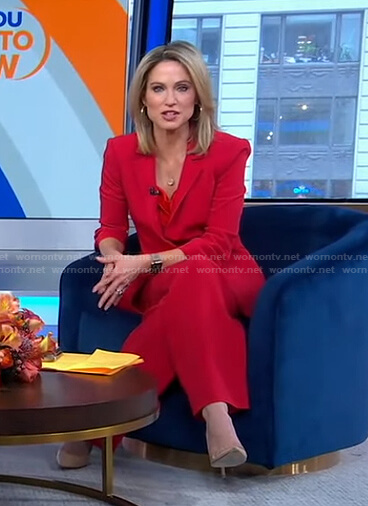 Amy's red camisole and blazer on Good Morning America