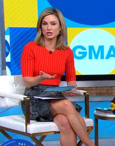 Amy's red ribbed knit top and snake print skirt on Good Morning America