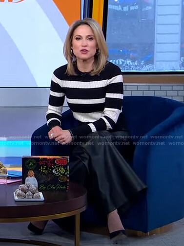 Amy's striped sweater and wide-leg leather pants on Good Morning America