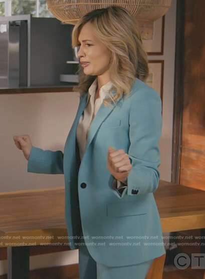 Amy's turquoise blazer and pants on All Rise