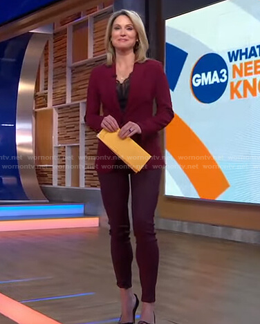 Amy's burgundy blazer and leggings on Good Morning America