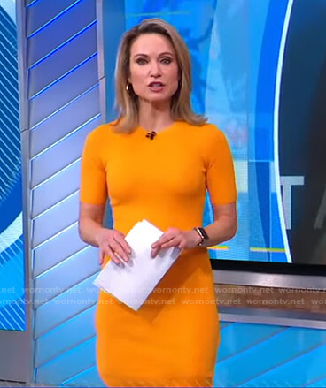 Amy's yellow short sleeve knit dress on Good Morning America