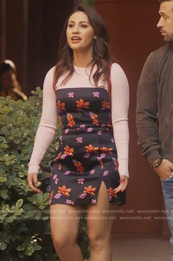 Ana's black floral mini dress on Grown-ish