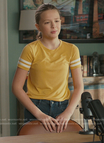 Ana's yellow stripe sleeve tee on American Housewife