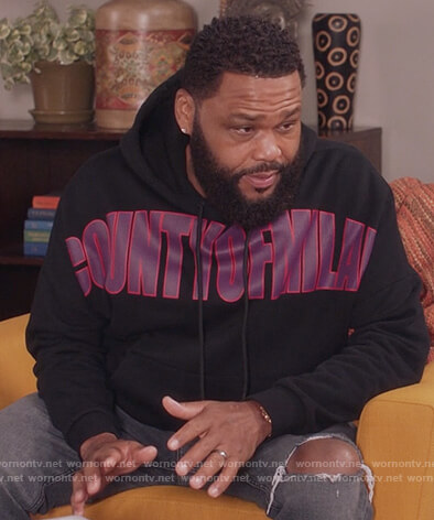Andre's black County of Milan print hoodie on Black-ish