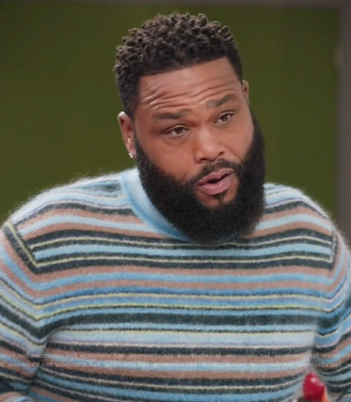 Andre's blue stripe fuzzy sweater on Black-ish