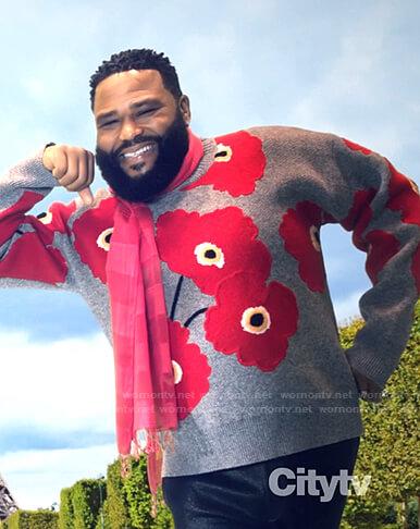Andre's grey poppy sweater on Black-ish