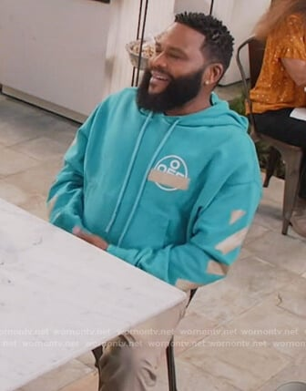 Andre's turquoise off-white hoodie on Black-ish