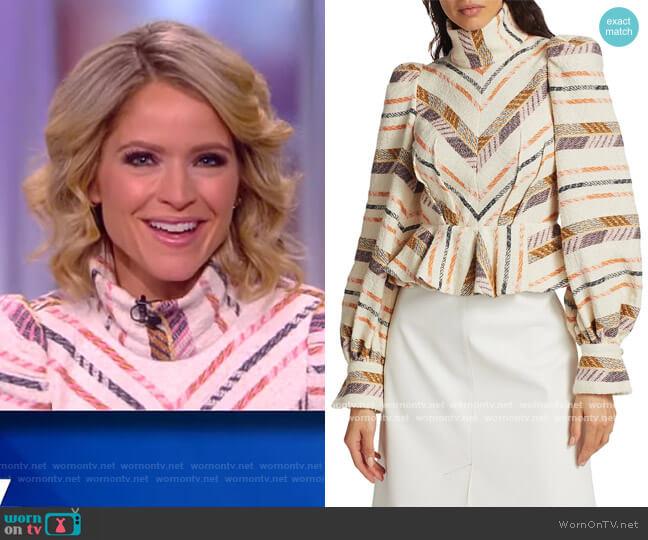 Emina Highneck Peplum Blouse by Anna Mason worn by Sara Haines  on The View