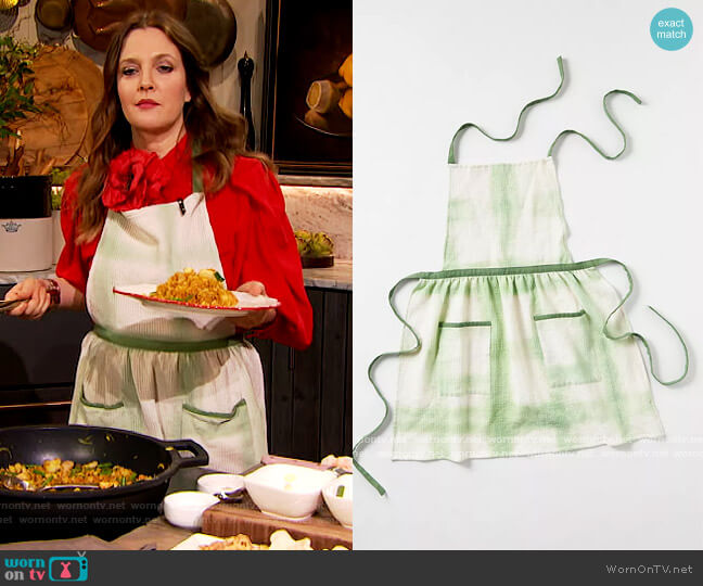 Amie Tie-Dye Apron by Anthropologie worn by Drew Barrymore  on The Drew Barrymore Show