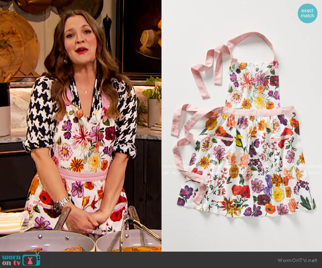 Nathalie Lete Helena Apron by Anthropologie worn by Drew Barrymore  on The Drew Barrymore Show