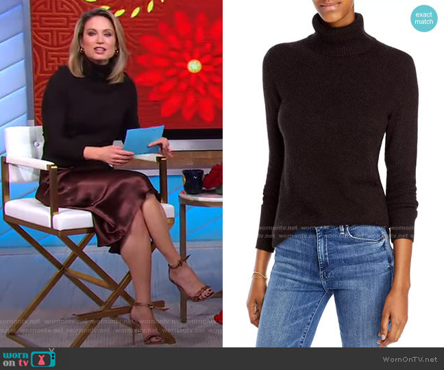 Cashmere Turtleneck Sweater in Coffee Bean by Aqua Cashmere worn by Amy Robach  on Good Morning America