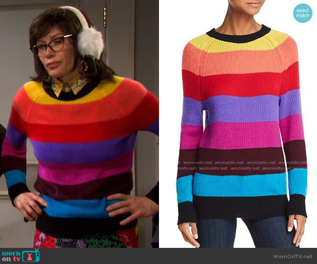 Rainbow-Stripe Cashmere Sweater by Aqua Cashmere worn by Stacy Haiduk on Days of our Lives