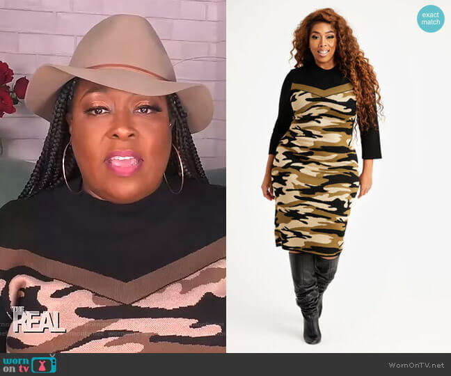 Camo Block Sweater Dress by Ashley Stewart worn by Loni Love  on The Real