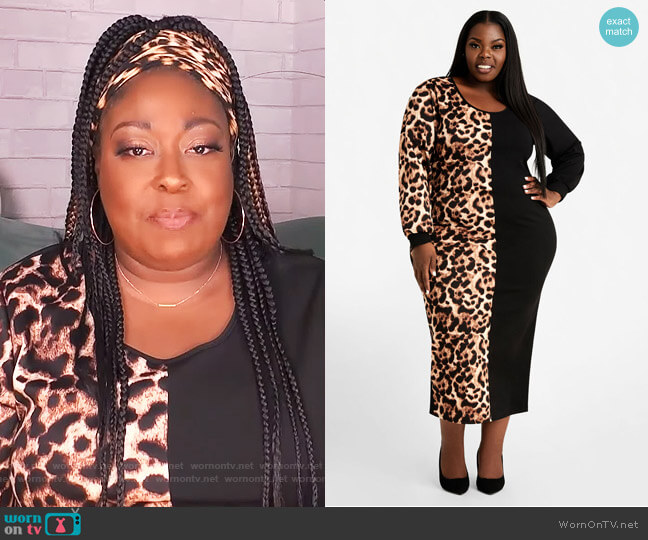 Animal Print Colorblock Midi Dress by Ashley Stewart worn by Loni Love  on The Real
