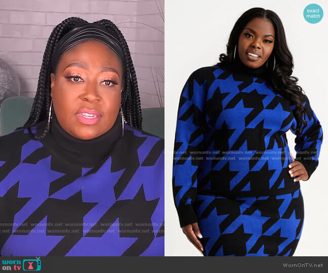 Houndstooth Turtleneck sweater by Ashley Stewart worn by Loni Love  on The Real