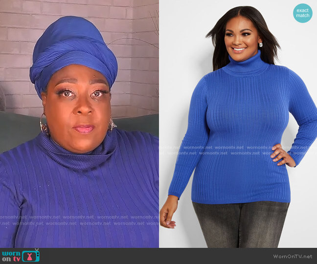 Ribbed Knit Turtleneck Sweater by Ashley Stewart worn by Loni Love  on The Real