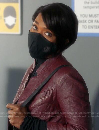 Athena's red wrinkled leather jacket on 9-1-1