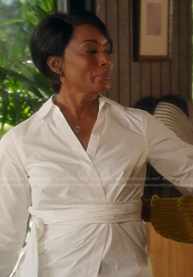 Athena's white tie waist shirt on 9-1-1