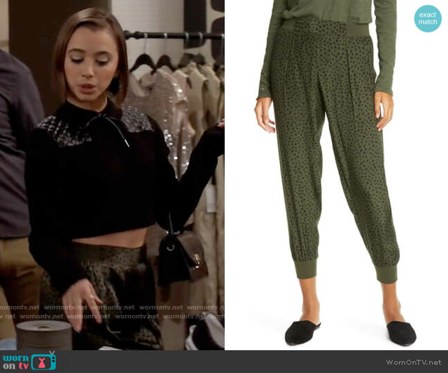 ATM Anthony Thomas Melillo Cheetah Print Silk Pull-On Pants worn by Celia (Emma Caymares) on Call Your Mother