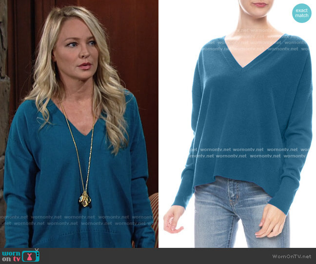 Autumn Cashmere Relaxed V-neck Sweater worn by Sharon Collins (Sharon Case) on The Young & the Restless