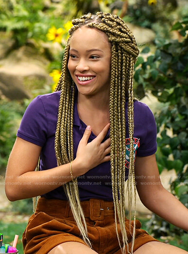 Ava's brown corduroy belted shorts on Bunkd