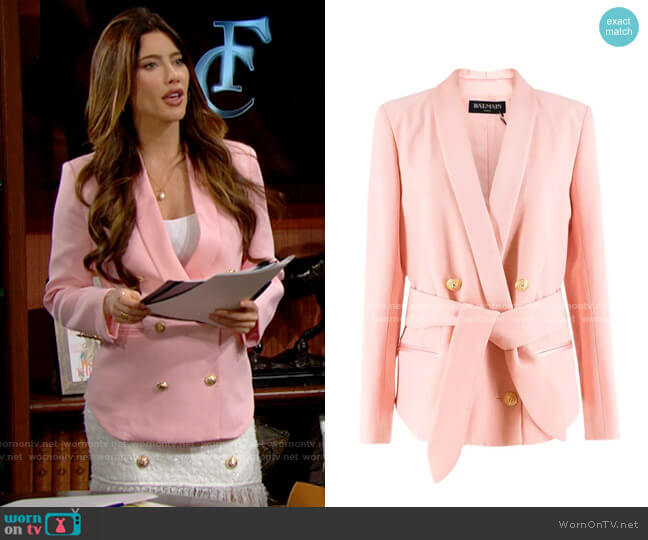 Balmain Crepe Double Breasted Blazer worn by Steffy Forrester (Jacqueline MacInnes Wood) on The Bold & the Beautiful