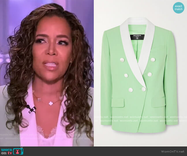 Double-breasted two-tone crepe blazer by Balmain worn by Sunny Hostin  on The View