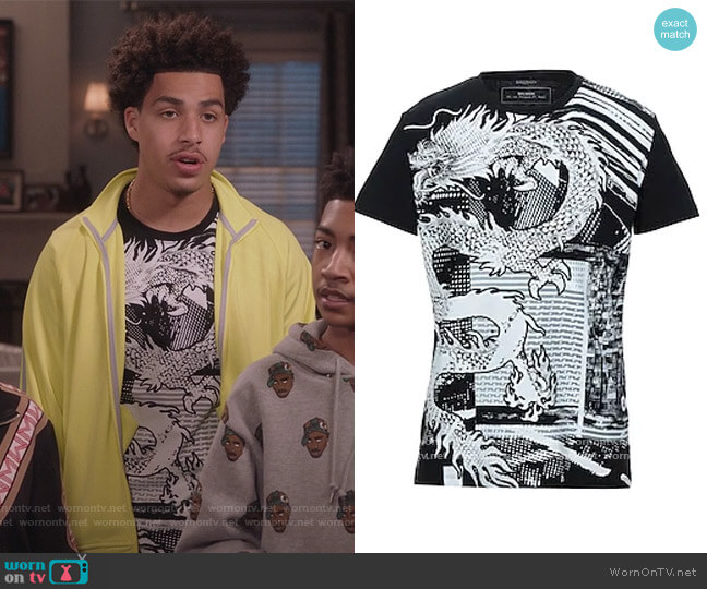 Dragon Graphic Tee by Balmain worn by Andre Johnson Jr (Marcus Scribner) on Blackish